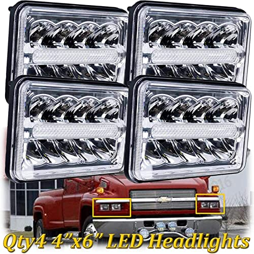 """popular LED Headlights For Chevrolet Chevy C4500 C5500 Kodiak Truck 4x6"""" Headlight 2021 Hi-Lo Beam, H4651 H4642 H4652 H4656 H4666 discount H4668 H6545 Super Bright Replacement, Pack of 4 online sale"""