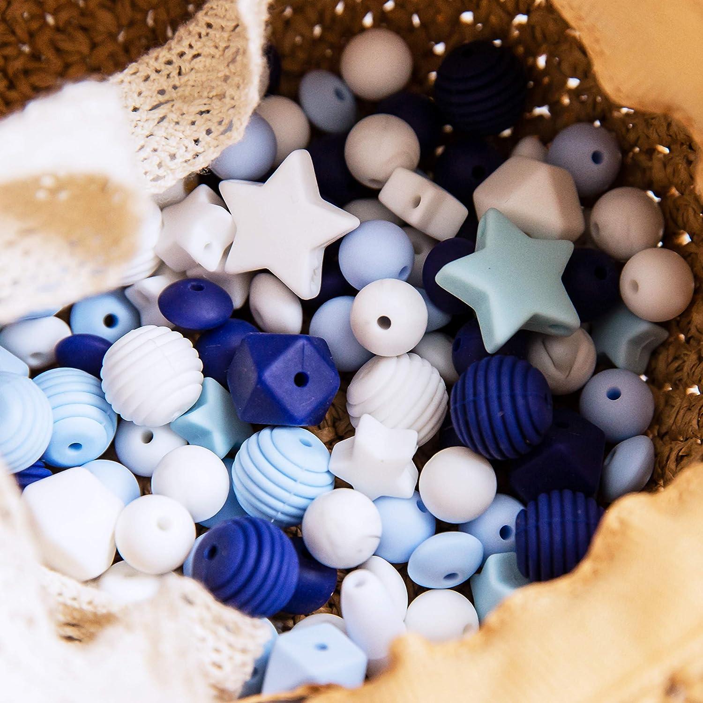 Promise Babe Silicona Teether Beads DIY Set El Regalo de Ducha de Juguete Para la Dentici/ón M/ás Adecuado Durante la Dentici/ón del Beb/é Serie Gris