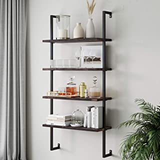Nathan James Theo 4-Shelf Bookcase, Floating Wall Mount Shelves with Natural Wood and Industrial Pipe Metal Frame, Nutmeg/Black