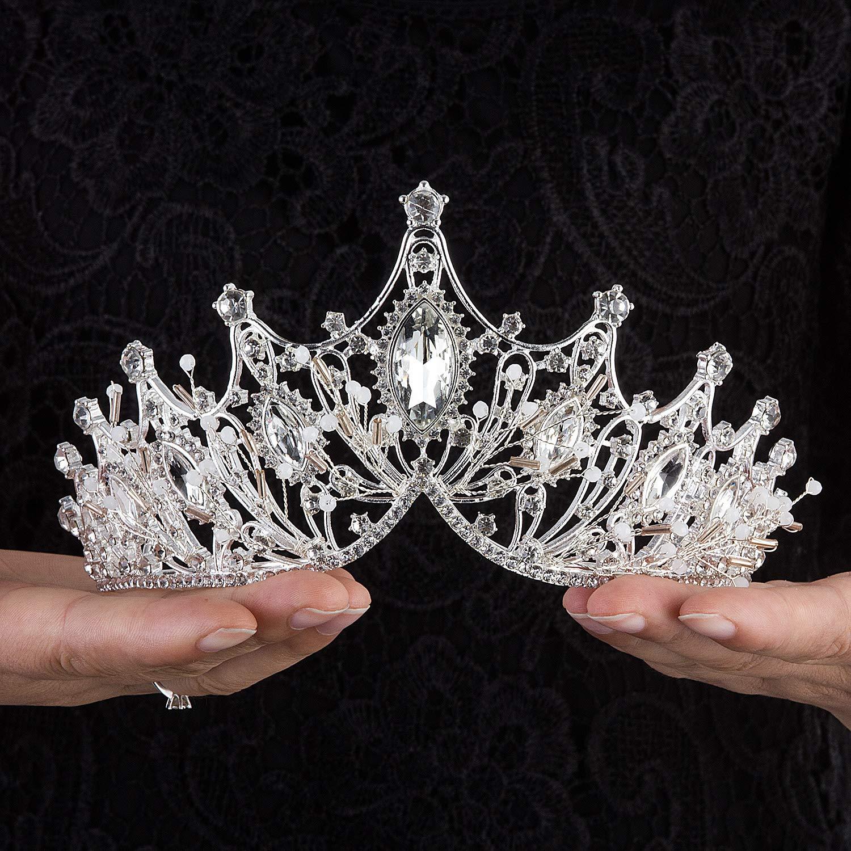 YAZILIND Elegant Rhinestone Butterfly Flower Wedding Bridal Tiaras Princess Women Birthday Crown Headdress