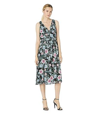 Karen Kane Faux Wrap Midi Dress (Floral Print) Women