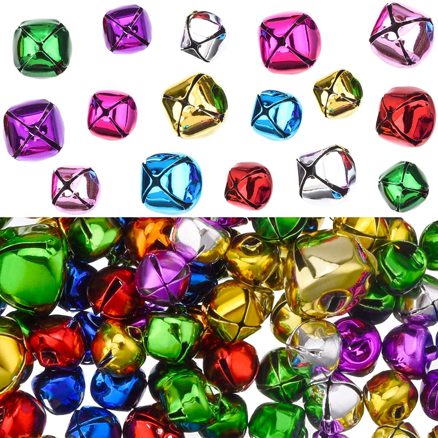 200 Pieces Party Jingle Bells Mini Small Bells Loose Beads Charms, Assorted Colors (10 mm, 15 mm)