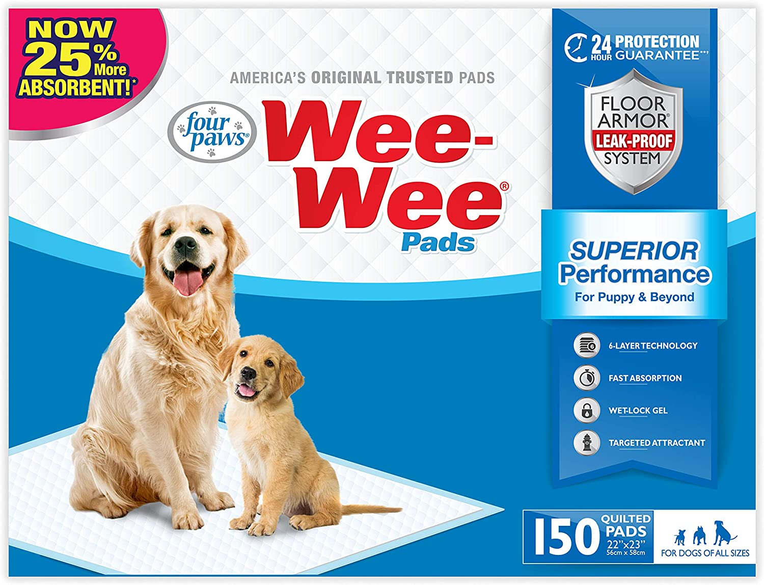 Four Paws WeeWee Pads, 150Count, Bulk Pack