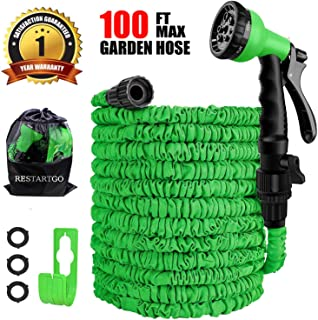 Restartgo 100FT Garden Hose Reel Expandable 3 Times TPE Super-Strength High Pressure Flexible Water Hose,8-Function High-Pressure Spray Nozzle with 3/4