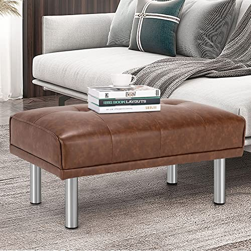 lowest Giantex Tufted Ottoman, Rectangle Footrest Stool online sale with Stainless Steel Legs, Leather Sofa Ottoman with Thickened Seat discount and Waterproof Surface, Bed End Bench for Living Room, Bedroom, Entryway (Brown) online