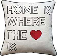 EurasiaDecor DecorHouzz Home 18x18 Quote Embroidered Soft Cotton Decorative Pillow Covers for Sofa Couch Housewarming New Home First Apartment Living Room 18