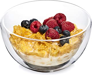 Dragon Glassware Cereal and Soup Bowls, Premium Double-Walled Glass Keeps Food Hot and Cold and Safe-To-Touch, 23-Ounces, Gift-Boxed - Set of 2