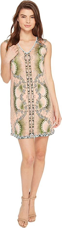 Nicole Miller - La Plage By Nicole Miller Tropical Peacock Beaded Cover-Up Dress