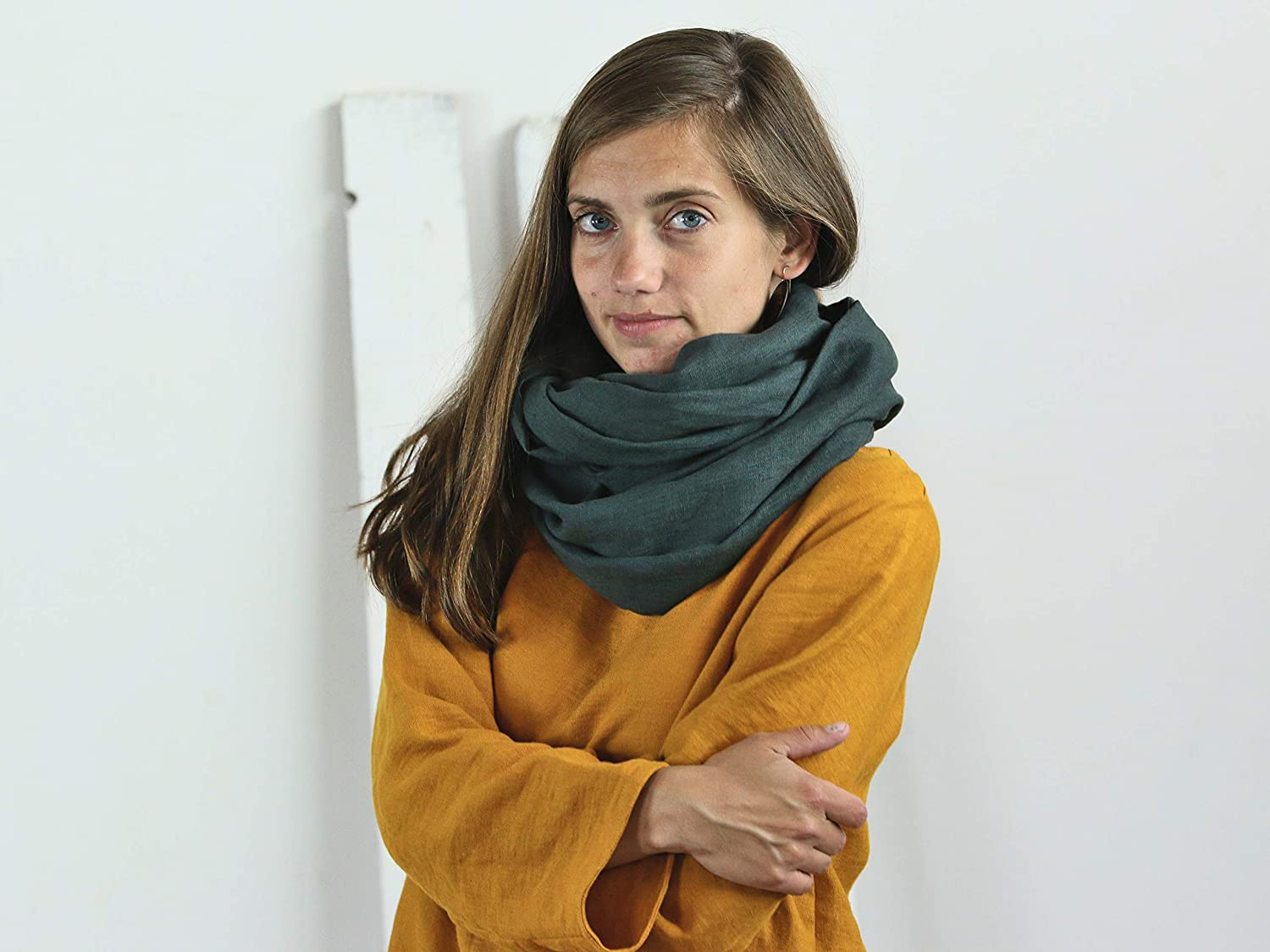 Washed linen scarf Softened scarve Wi Infinity Challenge Brand new the lowest price