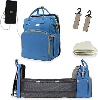 Bolsa de pañales con cambiador Mochila con cuna plegable 3 en 1 Bolsa de viaje con funda con bolsillos aislados para biberones, cambiador para niños y niñas, color azul