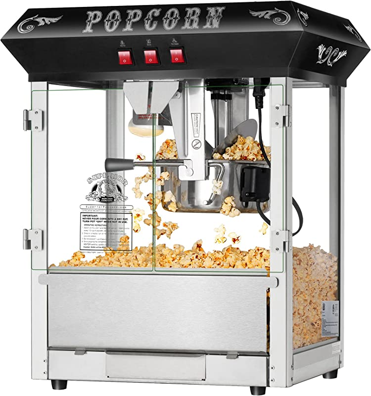 Hot And Fresh Countertop Style Popcorn Popper Machine Makes Approx 3 Gallons Per Batch By Superior Popcorn Company 8 Oz Black