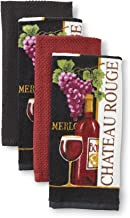Essential Home 4-Piece Kitchen Towel Set - Chateau Merlot! 100% Cotton, Grapes and Wine Glasses in Black, Burgundy and Rust (Burgundy Grape)
