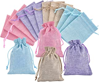 40Pcs 4 Color Burlap Bags with Drawstring Gift Bag Jewelry Pouches Small Jute Sacks Candy Organizer for Wedding Party Birthday Baby Shower DIY Craft Christmas Thanksgiving Favors, 5.0 x 4.0 inch