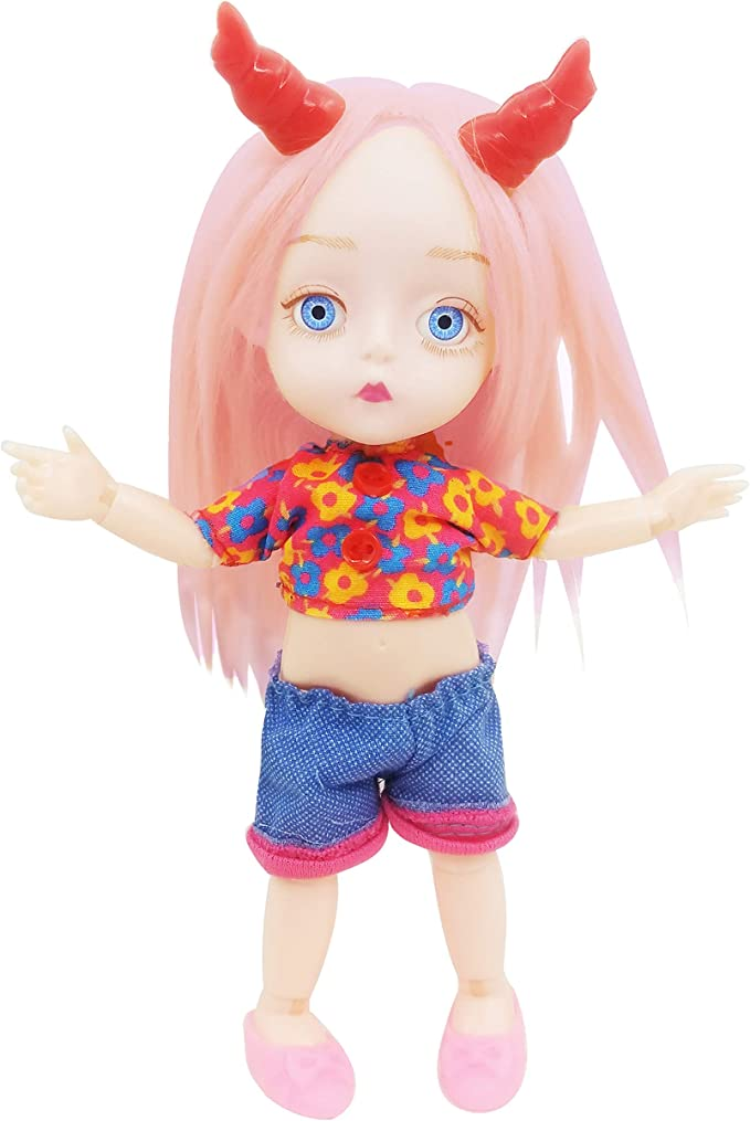 Moveable Jointed 16cm 1//8 Ob11 Dolls Mini BJD Baby Girl Body Fashion Dolls Toy