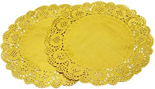 Amkoskr 100 Pcs 12 Inch Round Lace Gold Paper Doilies Gold Foil Paper Placemats Doily Paper Pad for Cakes Crafts Party Weddings Tableware D�cor