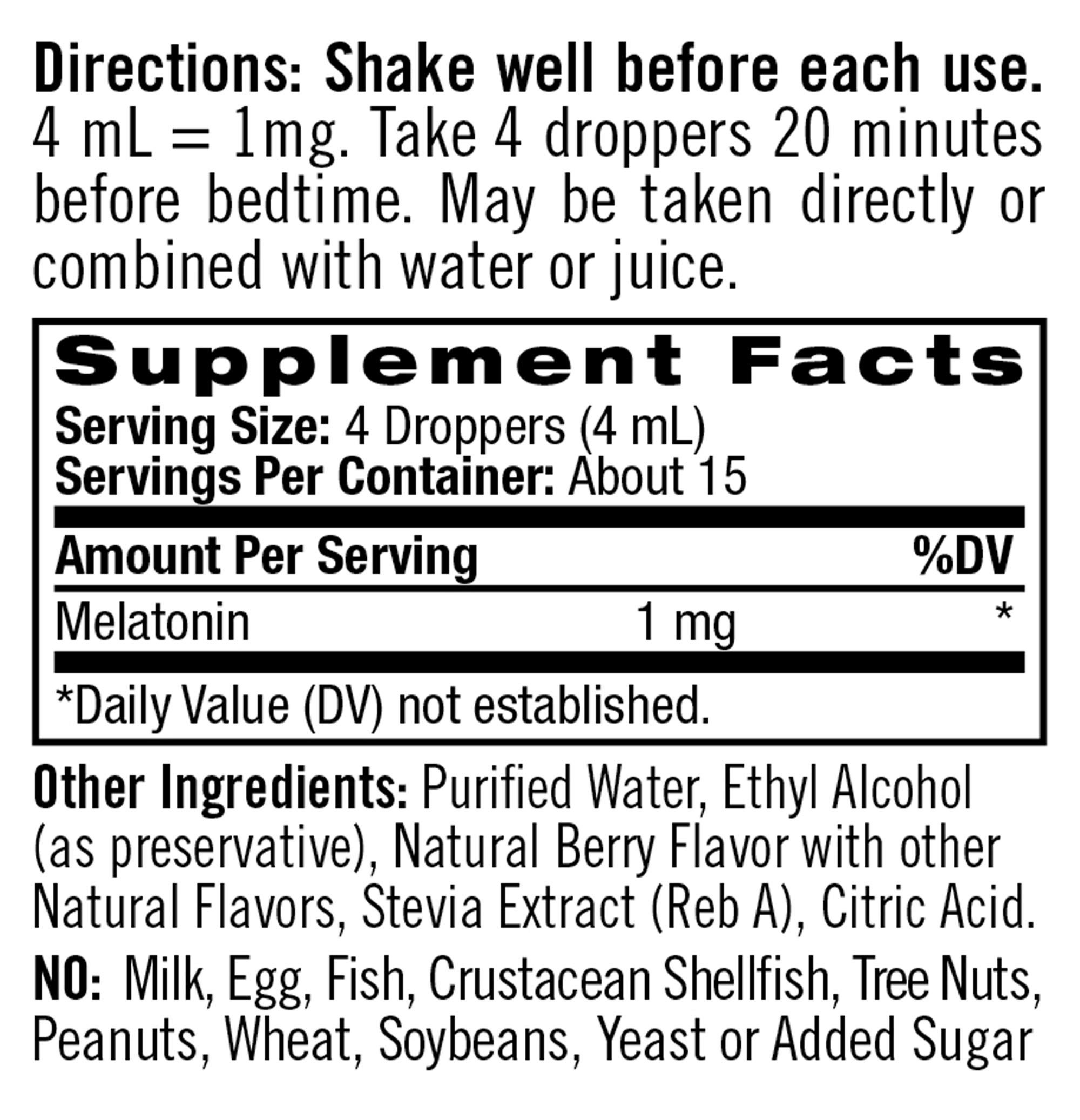 Natrol Liquid Melatonin Tincture, Helps You Fall Asleep Faster, Stay Asleep Longer, Faster Absorption, 100% Vegetarian, Berry Flavor, 1mg, 2 Fl. Ounce Tincture Bottle