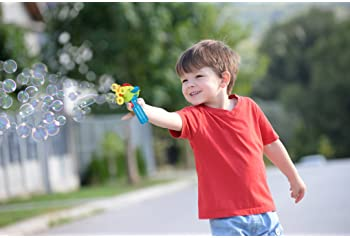 Bubble Gun Blower for Kids (Boys & Girls) - Non-Toxic | Dip&Press with Fan | Mini Toy Blaster with Soap Solution | 4 ...