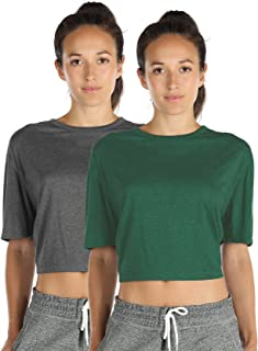 Open Back Workout Top Shirts - Yoga t-Shirts Activewear Exercise Crop Tops for Women(Pack of 2)