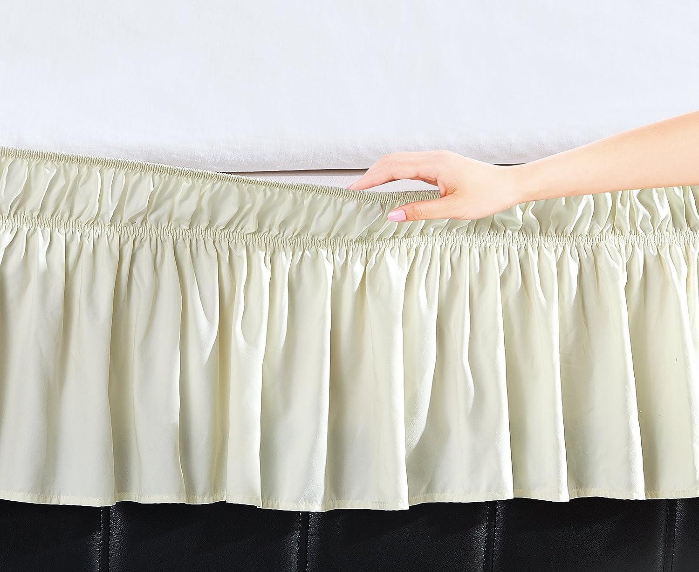 BenJonah Easywrap Ivory Elastic Ruffled Bed Skirt with 16
