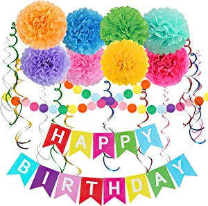 Rainbow Colorful Birthday Decorations, Happy Birthday Banner with Pom Poms Paper Circle Garland Swirl Streamers for Girls Women Party Supplies