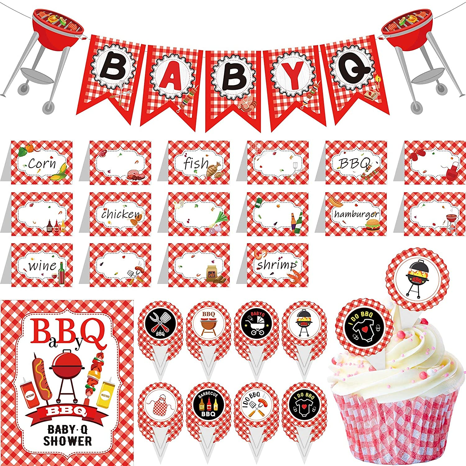 42 Pieces of BabyQ Party Decorations Set BabyQ Banner BabyQ Cupcake Toppers BabyQ Bar Sign Blank Food Tent Cards Table Decor for Gender Reveal Picnic Barbecue Theme Party Baby Shower Birthday Party