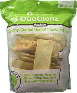 Vet One DuoClenz Enzyme Coated Dog Dental Chews for Large Dogs - Veterinarian Formulated - 30