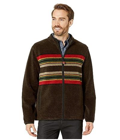 Pendleton Camp Stripe Zip-Up Fleece Jacket (Brown Camp Stripe) Men