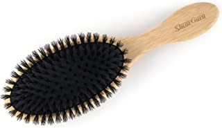 Boar Bristle Detangling Hair Brush- Natural Wooden Bamboo Handle for All Hair Types - Adds Shine and Improves Hair Texture - All Purpose Styling Brush- Straightening, Detangling with No Pain Detangler