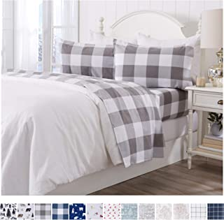 Extra Soft Buffalo Check 100% Turkish Cotton Flannel Sheet Set. Warm, Cozy, Lightweight, Luxury Winter Bed Sheets. Belle Collection (Full, Grey)