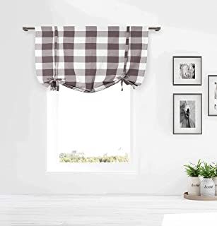 Gray/Taupe and White Tie-up Window Curtain Shade Large Buffalo Check 100% Cotton 42 in Wide X 63 in Long