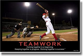 Teamwork - (Baseball) Coming Together Is a Beginning. Keeping Together Is Progress. Working Together Is Success. - Henry Ford - Motivational Poster