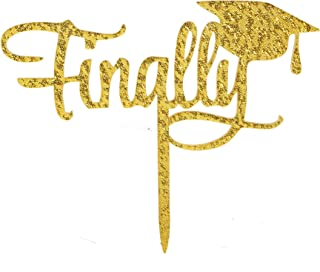 Finally Acrylic Cake Topper, Congrats Grad Cake Topper,Class of 2019 Graduation Party Decorations Supplies