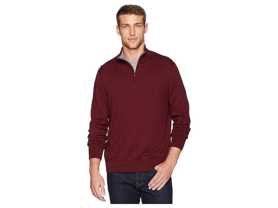 Nautica 12 Gauge 1/4 Zip Sweater (Royal Burgundy) Men