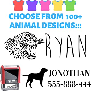 Create Your Stamp – Clothes Stamp Label Custom. Elephant or Eagle or Horse! Stamp Your Clothes with Your Custom Name. Great for Kids T-Shirts Clothing Stamp Personalized. 1 or 2 Line Stamper.