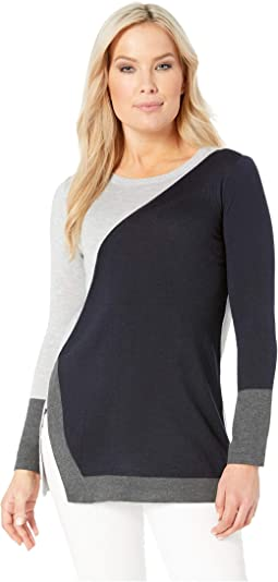 Petite Long Sleeve Color Block Side Split Crew Neck Sweater