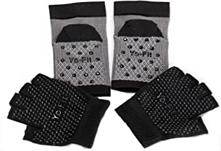 BellaGya Anti-Slip Toeless Compression Yoga Sock & Glove Pack. Added Ankle Support (Multi-Pack)
