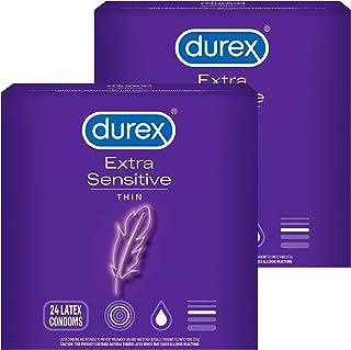 Condoms, Durex Extra Sensitive & Extra Lubricated Condoms, 24 Count (Pack of 2), Ultra Fine, Natural Latex Condoms, FSA & ...