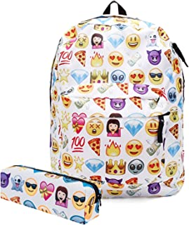 KooJoee Canvas Unisex School/Hiking/Travel/Camping/Laptop Backpack/Book Bags/Day Packs for Kids/Girls/Boys/Teenagers/Women with Free Pencil Bag White Emoji WQ-4TAW-YZ26