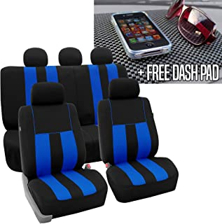 FH Group FH-FB036115 Striking Striped Seat Covers, Blue/Black FH1002 Non-Slip Dash Grip Black Pad Mat - Fit Most Car, Truck, SUV, or Van
