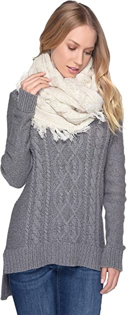 Cable Knit Scarf with Fringe