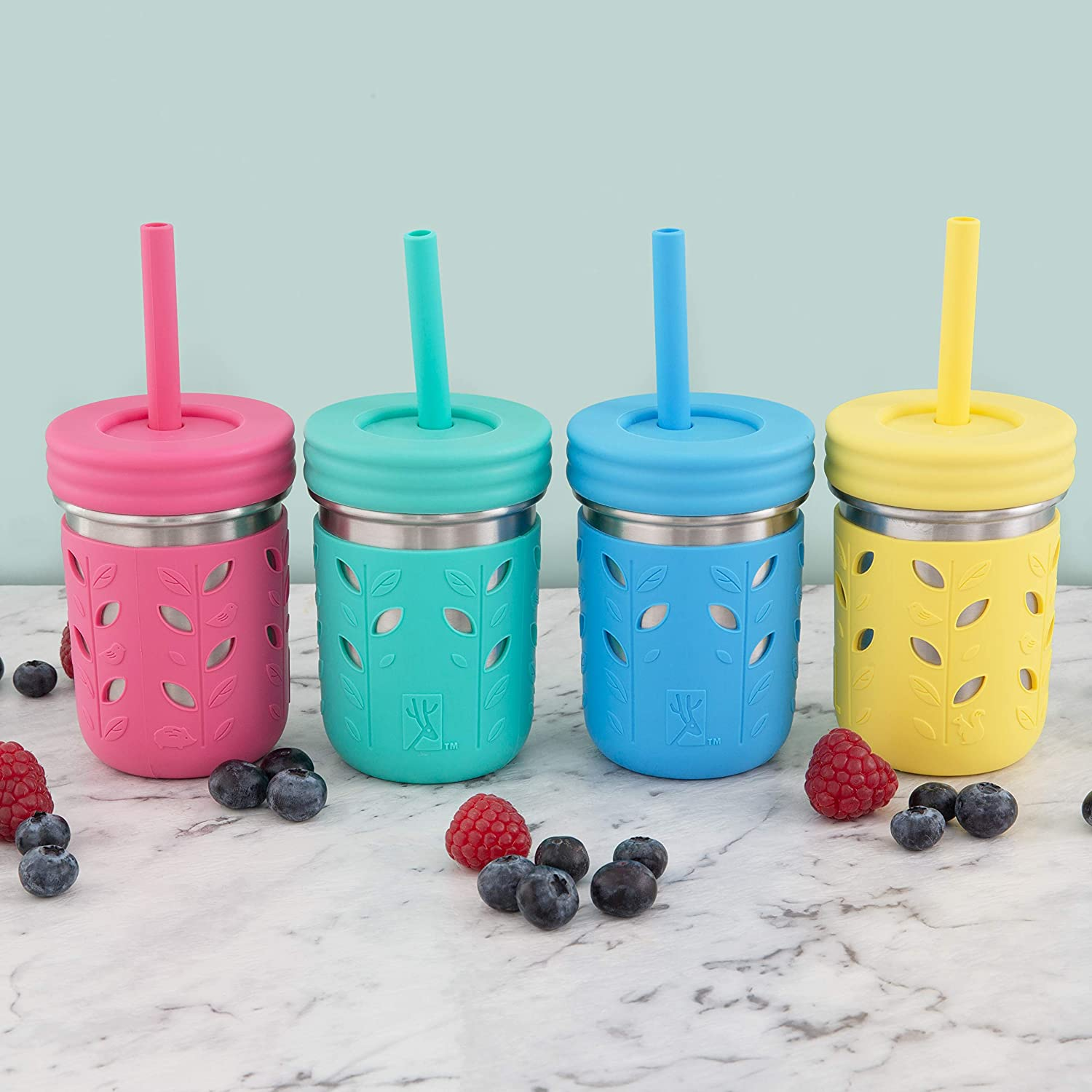 Mason Jar 10oz Sippy Cups Kids /& Toddler Cups with Silicone Sleeves /& Silicone Straws with Stopper Elk and Friends Stainless Steel Cups Spill Proof Cups for Kids Smoothie Cups