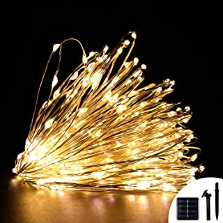 Solar String Lights - Waterproof Copper Fairy Lights 100 LED 33 Ft Silver Wire - 8 Modes with Memory Function - Indoor Outdoor Decoration for Christmas Bedroom Party Garden Patio (Warm White)