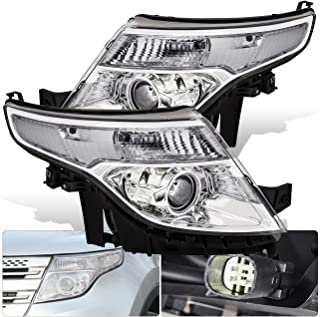 For Ford Explorer Front Bumper Projector Headlight Head Lamp Chrome Housing Clear Lens Amber Reflector Upgrade Assembly Pair Left Right