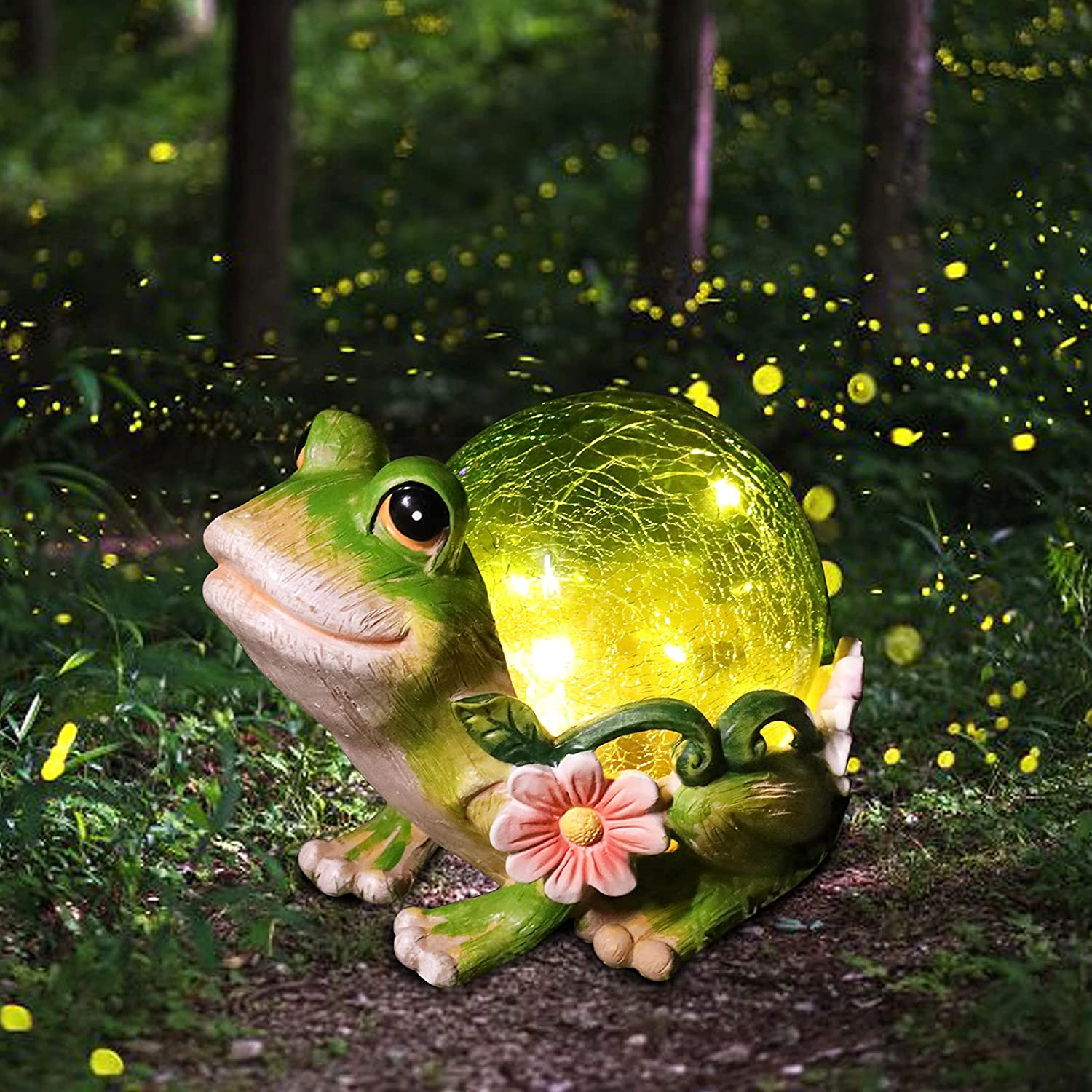 Solar Garden Statues Outdoor Figurines - Frog Lawn Ornament with Solar Lights Cracked Glass Outdoor Decor for Patio Yard Decorations