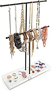2 Tier Black Metal Jewelry Storage Display Rack w/Clear Acrylic Ring Dish/Necklace & Bracelet Stand