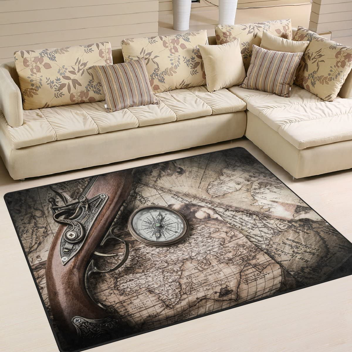 Naanle Navigation Area Rug 4'x5' Max Kansas City Mall 80% OFF and Polyester Old Map Compass