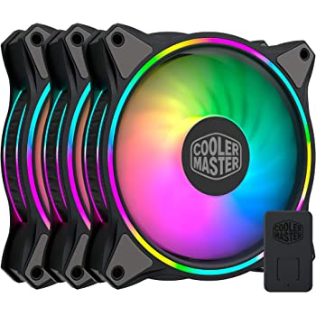 Cooler Master MasterFan MF120 Halo Duo-Ring Addressable RGB Lighting 120mm 3 Pack with Independently-Controlled LEDs, Absorbing Rubber Pads, PWM Static Pressure for Computer Case & Liquid Radiator