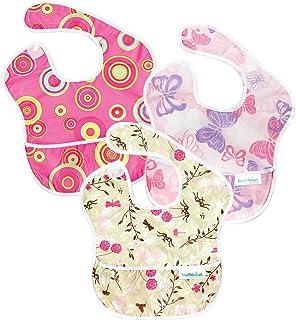 Bumkins(バンキンス)  スーパービブ(食事用防水ビブ) 6~24ヶ月 3枚組 ガールセット (ピンクフィズ・バタフライ・フラッターフローラル) [並行輸入品]