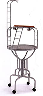 NEW Wrought Iron Parrot Bird Play Gym Ground Stand With Metal LadderBlack Vein