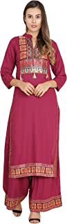Shopbering Women's Pink Rayon Kurta and Palazzo Set